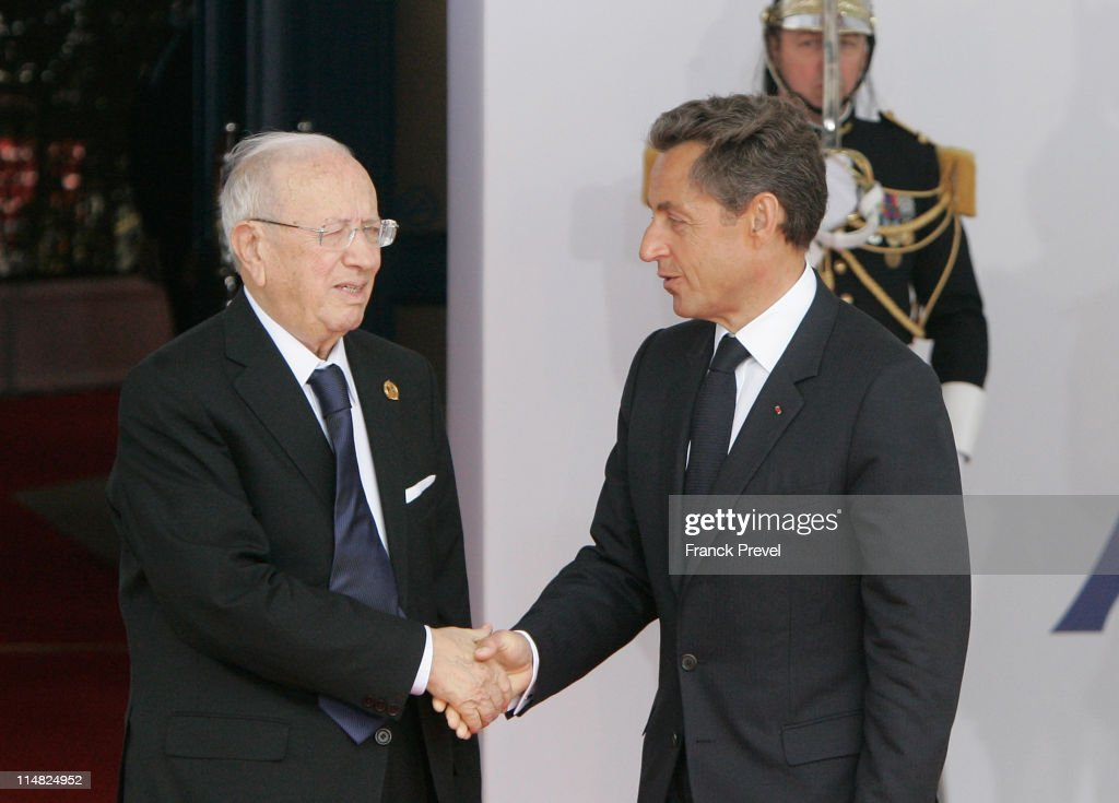 French President Nicolas Sarkozy welcomes Tunisian Prime Minister, Beji Caid el Sebsi to day two of the G8 Summit on May 27, 2011 in Deauville, France. The Tunisian Prime Minister, Beji Caid el Sebsi, and Egyptian Prime Minister, Essam Sharaf, are due to meet with G8 leaders today to discuss aid packages as the recent Arab Spring uprisings continue to dominate the talks. Furthermore, the meeting will address security, trade issues, nuclear safety and climate change.