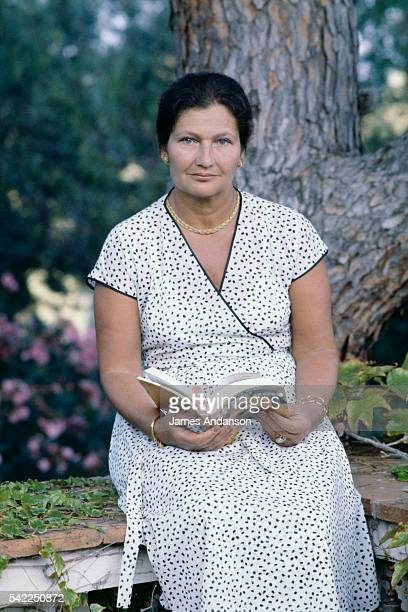 French President of the European Parliament Simone Veil with her husband politician Antoine Veil on holiday in SainteMaxime