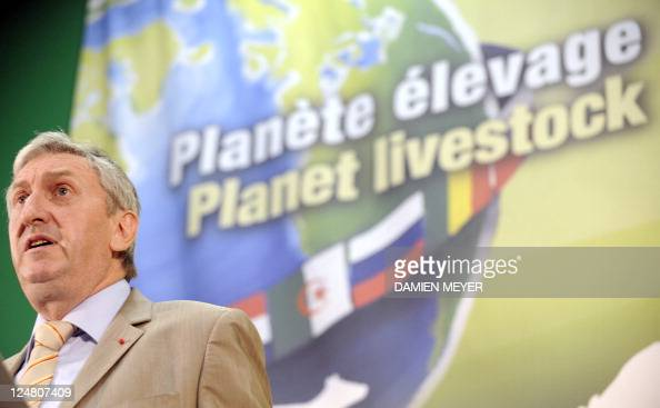 French president of the National Federation of Agricultural Holders' Unions JeanMichel Le Metayer delivers a speech during the 24th 'Space' the...