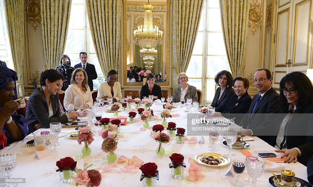 French president partner Valerie Trierweiler (3rdL), Minister for Women's Rights Najat Vallaud-Belkacem (2ndL) and Junior minister for Francophony, Yamina Benguigui (R), pose before a lunch with Shirin Ebadi (3rdR) Iranian lawyer and 2003 Nobel Prize for Peace laureate, Ramata Coulibaly (L) from the 'Malian from France for peace collectif', and Selma Fekih (C), Tunisian embassador in France's wife. The lunch is held by Trierweiler to mark the Women's international day.