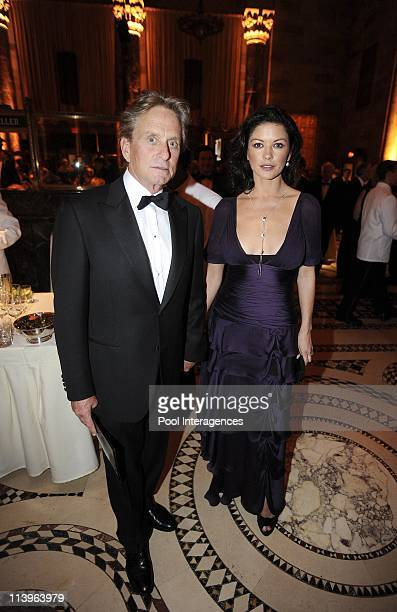 French President Sarkozy and First Lady Attend The Elie Wiesel Fondation Dinner In New York United States On September 21 2008Actors Michael Douglas...