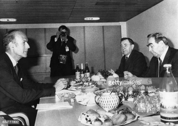 French President Valery Giscard d'Estaing and Soviet secretary general of the Communist Party Leonid Brejnev meet during the European Summit focused...