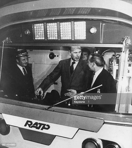 French President Valery Giscard d'Estaing inspecting the train at the inauguration of the new metro RER lines in Paris circa 1978