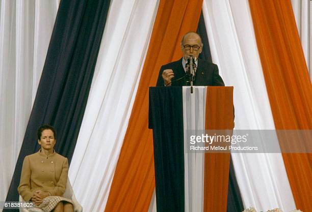 French president Valery Giscard d'Estaing is joined by his wife AnneAymone as he gives a speech to a crowd of 120000 during a campaign rally for 1981...
