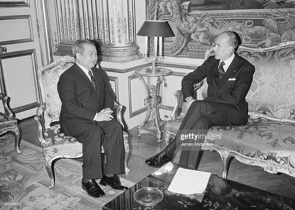 French President Valery Giscard D'Estaing receives his Cambodian counterpart Prince Norodom Sihanouk at the Elysee Palace