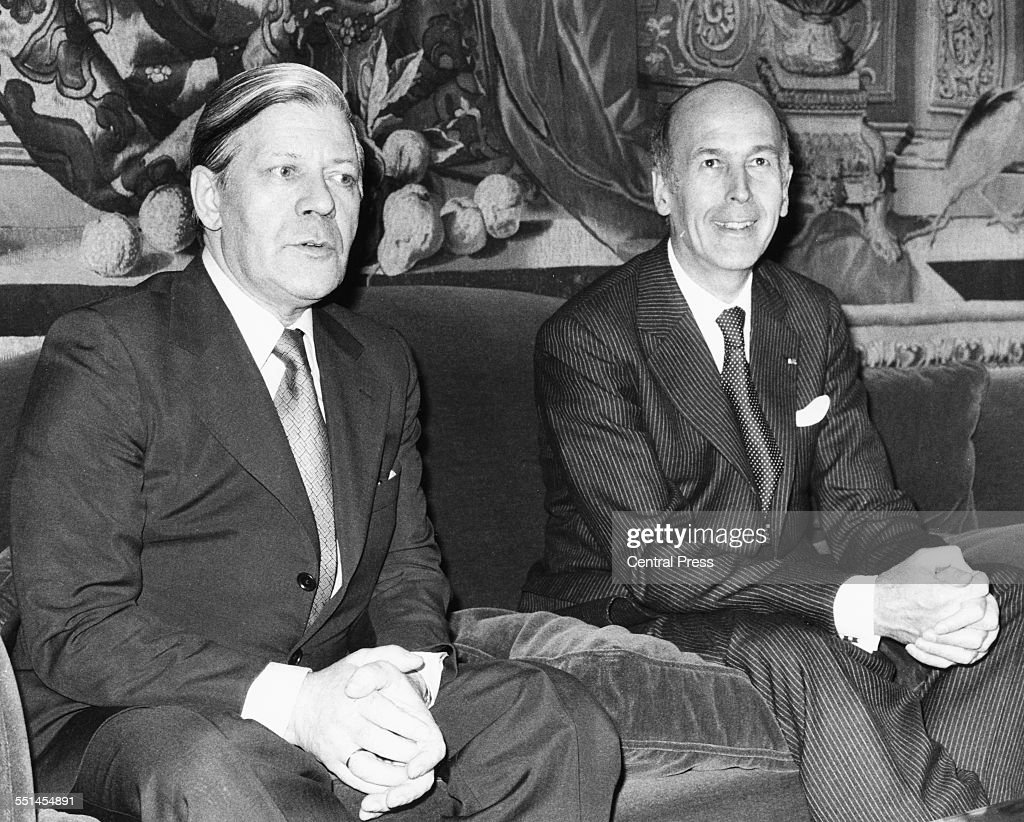 French President Valery Giscard d'Estaing (left) sitting with German Chancellor Helmut Schmidt, at the French Ambassadors residence in London, May 9th 1977.