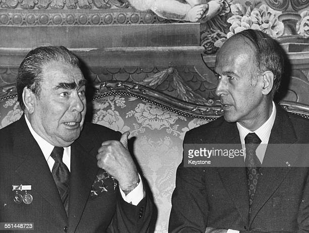 French President Valery Giscard d'Estaing talking his Russian counterpart Leonid Brezhnev during talks at the Rambouillet Palace June 21st 1977