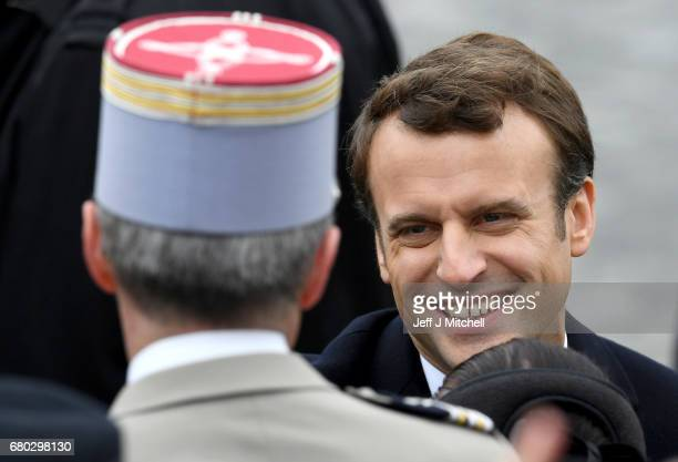 French presidentelect Emmanuel Macron smiles as he attends a ceremony to mark the Western allies' World War Two victory in Europe at the Arc De...