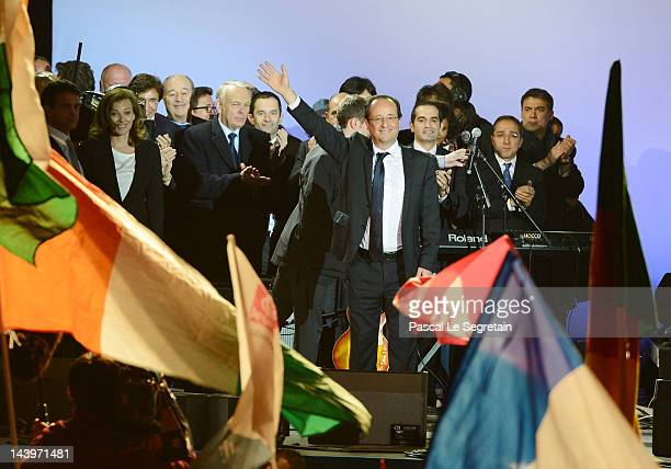 French PresidentElect Francois Hollande acknowledges his supporters at Place de la Bastille after victory in the French Presidential Elections on May...