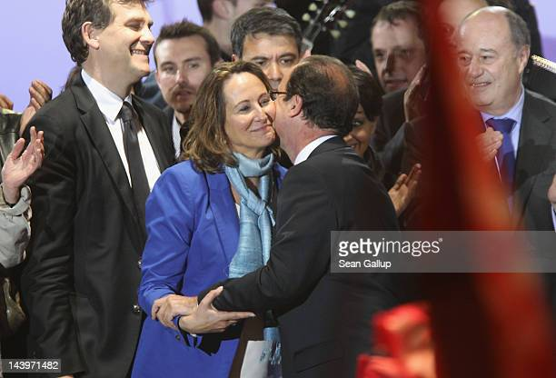 French PresidentElect Francois Hollande embraces his exwife Segolene Royal as he greeted thousands of gathered supporters at Place de la Bastille...