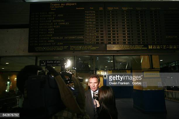French Presidential Candidate and UDF leader Francois Bayrou talks to the press before taking the TGV to return to Paris after a rally in Lille