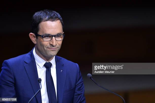 French Presidential Candidate Benoit Hamon addresses mayors during a conference at Maison de la Radio on March 22 2017 in Paris France The...