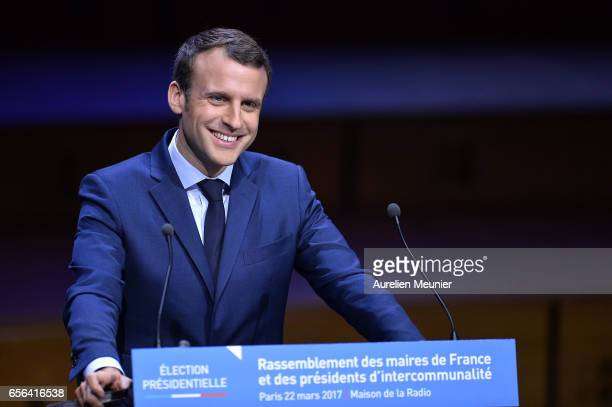 French Presidential Candidate Emmanuel Macron addresses French Mayors during a conference at Maison de la Radio on March 22 2017 in Paris France The...