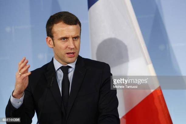 French presidential candidate Emmanuel Macron gives a statements to the media at the Germany Foreign Ministry on March 16 2017 in Berlin Germany...