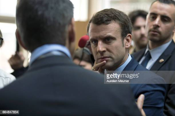 French Presidential candidate Emmanuel Macron visits APF Entreprise 93 on April 5 2017 in NoisyleSec France This company is specialized in the...