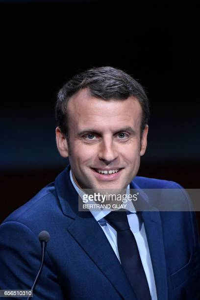 French presidential candidate for the 'En Marche' movement Emmanuel Macron delivers a speech during an exceptional gathering of mayors of France and...