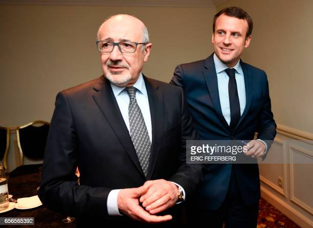 French presidential candidate for the 'En Marche' movement Emmanuel Macron meets with president of the Jewish Institutions Representative Council...
