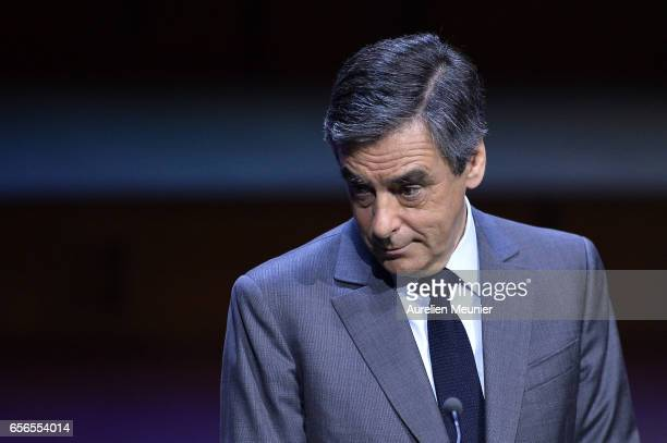 French Presidential Candidate Francois Fillon addresses mayors during a conference at Maison de la Radio on March 22 2017 in Paris France The...