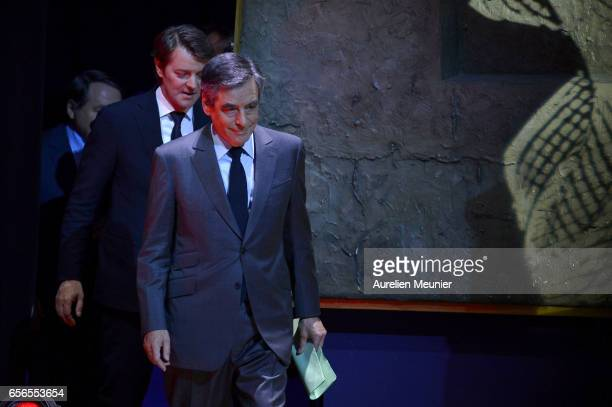 French Presidential Candidate Francois Fillon arrives for a conference at Maison de la Radio on March 22 2017 in Paris France The Presidential...