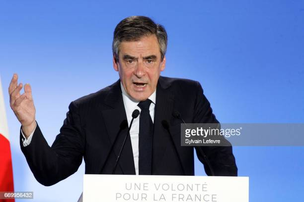 French Presidential candidate Francois Fillon delivers a speech during a rally on April 18 2017 in Lille France France will go to the polls on April...