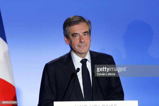 French presidential candidate Francois Fillon holds a rally party on April 18 2017 in Lille France France will go to the polls on April 23 to decide...
