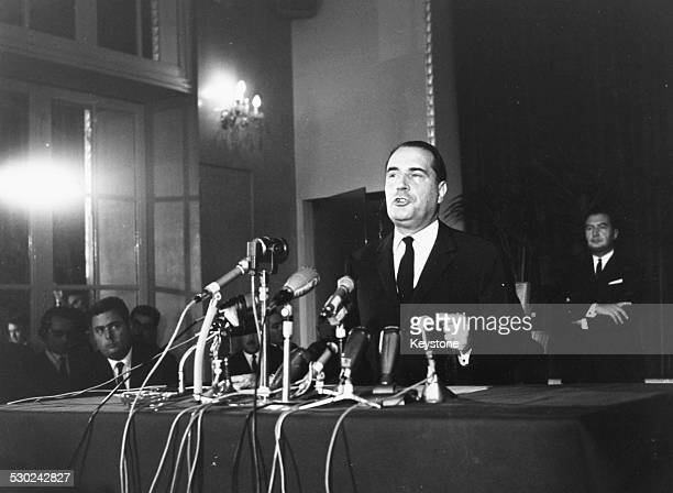French Presidential candidate Francois Mitterand speaking at a press conference 1965