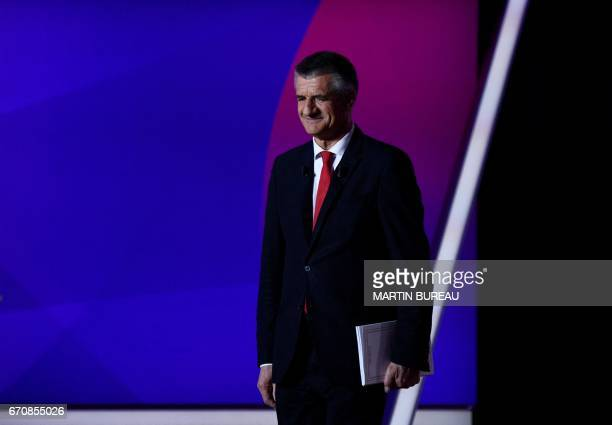 French presidential candidate Jean Lassalle arrives to take part in a special political TV show entitled '15mn to convince' at the studios of French...