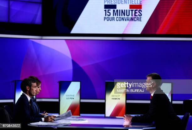 French presidential candidate Jean Lassalle speaks with French journalists and television hosts David Pujadas and Lea Salame during a special...