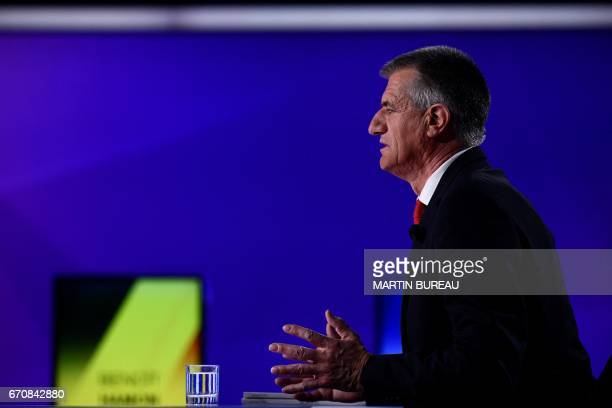 French presidential candidate Jean Lassalle takes part in a special political TV show entitled '15mn to convince' at the studios of French television...