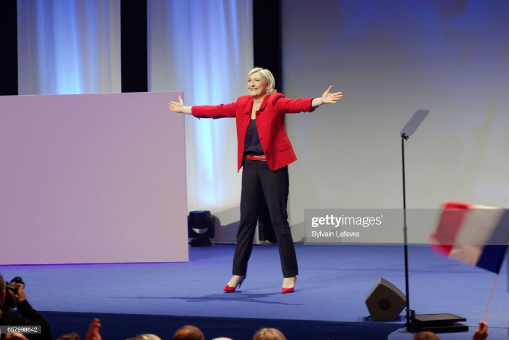 French Presidential Candidate Marine Le Pen Holds A Rally Meeting In Lille