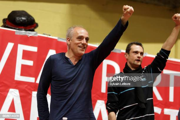 French presidential candidate Philippe Poutou holds meeting on April 14 2017 in Lille France The first round of the French presidential election will...