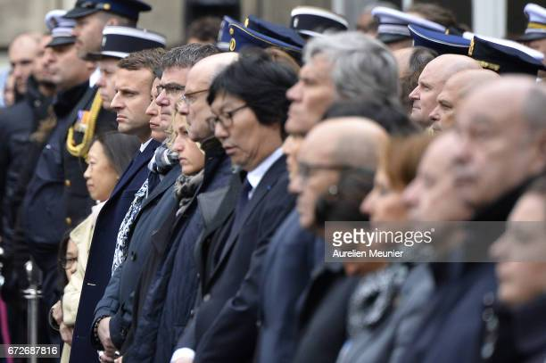 French Presidential Election candidate Emmanuel Macron attends the National tribute to fallen French Policeman Xavier Jugele on April 25 2017 in...