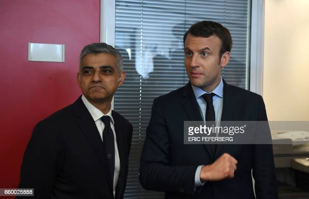 French presidential election candidate for the En Marche movement Emmanuel Macron meets with the mayor of London Sadiq Khan on March 29 2017 at his...
