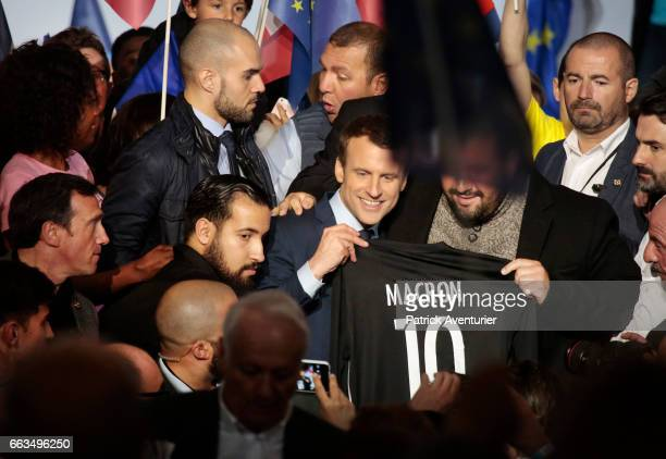 French presidential election candidate for the En Marche movement Emmanuel Macron gives a speech during a campaign meeting on April 1 2017 in...