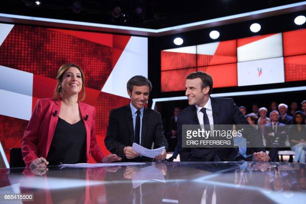 French presidential election candidate for the En Marche movement Emmanuel Macron and journalists and television hosts David Pujadas and Lea Salame...