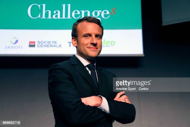 French presidential election candidate for the En Marche movement Emmanuel Macron arrives to deliver a speech during the 'StarUp Summit' at the...