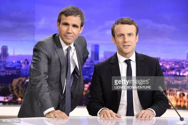 French presidential election candidate for the En Marche movement Emmanuel Macron and French journalist David Pujadas pose before an interview on the...