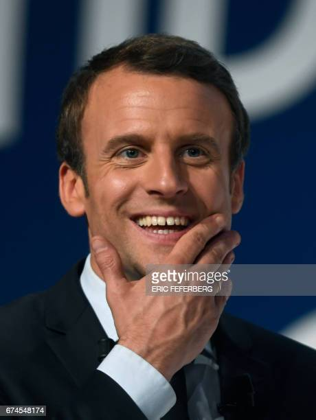 French presidential election candidate for the En Marche movement Emmanuel Macron speaks to supporters at the Angerlarde hall in Chatellerault...