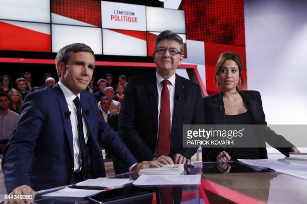 French presidential election candidate for the farleft coalition 'La France insoumise' JeanLuc Melenchon poses with journalists and TV hosts David...