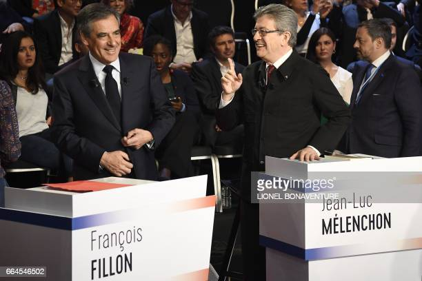 French presidential election candidate for the farleft coalition La France insoumise JeanLuc Melenchon speaks with French presidential election...