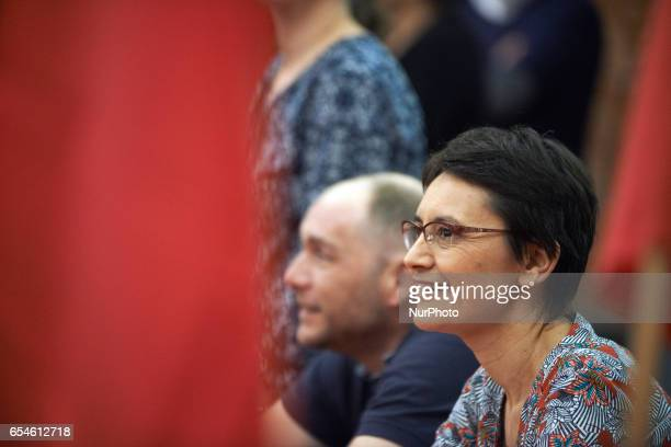 French presidential election candidate for the farleft Lutte Ouvriere party Nathalie Arthaud is pictured during a public meeting on March 17 2017 in...