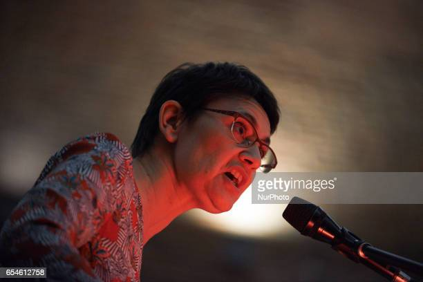 French presidential election candidate for the farleft Lutte Ouvriere party Nathalie Arthaud delivers a speech during a public meeting on March 17...