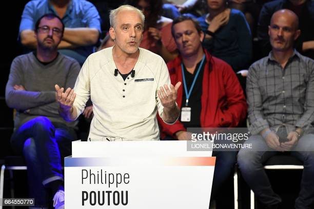 French presidential election candidate for the farleft New Anticapitalist Party Philippe Poutou speaks during a debate organised by the French...