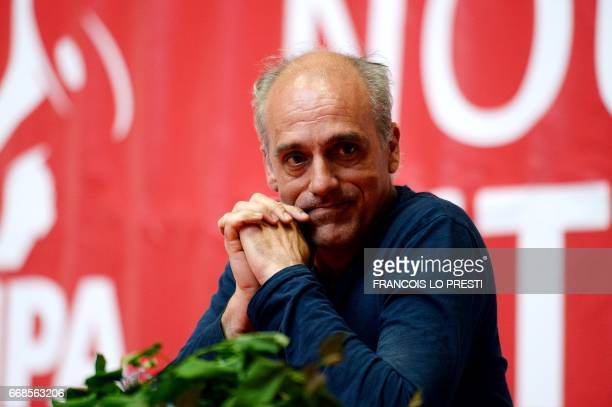French presidential election candidate for the farleft New Anticapitalist Party Philippe Poutou reacts as he holds a campaign meeting on April 14 in...