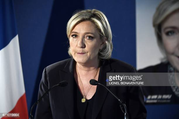 French presidential election candidate for the farright Front National party Marine Le Pen speaks during a press conference on April 21 2017 at her...
