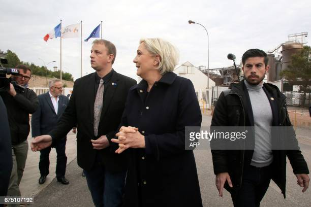 French presidential election candidate for the farright Front National party Marine Le Pen arrives at the Alteo aluminium plant in Gardanne southern...