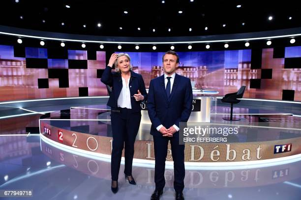 French presidential election candidate for the farright Front National party Marine Le Pen and French presidential election candidate for the En...