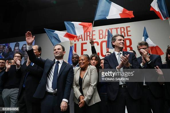 French presidential election candidate for the leftwing French Socialist party Benoit Hamon former French Justice Minister Christiane Taubira and...