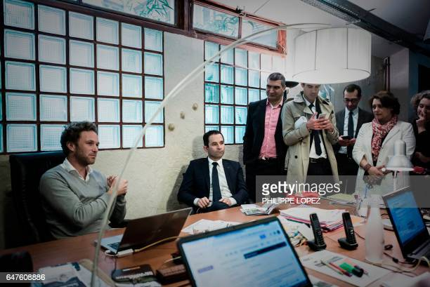 French presidential election candidate for the leftwing French Socialist party Benoit Hamon visits a coworking space for entrepreneurs 'La Ruche' in...