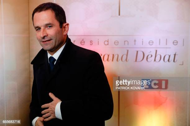 French presidential election candidate for the leftwing French Socialist party Benoit Hamon arrives for a debate organised by French private TV...